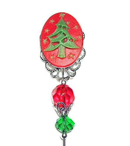 a53f95425 Amazon.com: CHRISTMAS TREE CAMEO Stick Hat Pin Long Hatpin Silver Pltd  Victorian Style St. Nick Holiday Christmas: Handmade