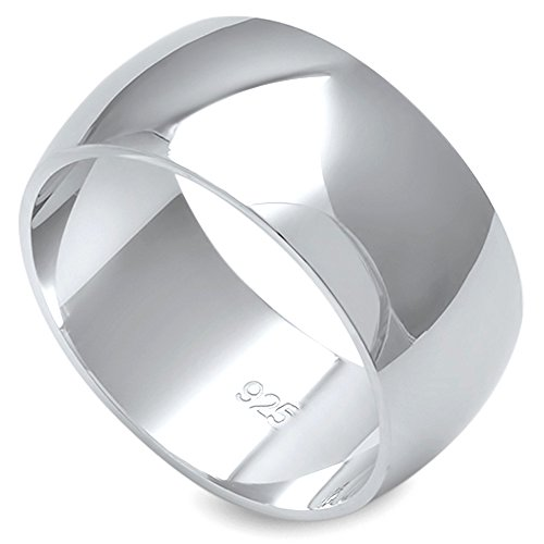 Solid Sterling Silver Women's Mens Unisex Wedding Band Comfort 9mm Size 11