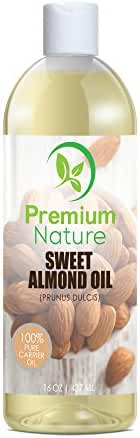 Sweet Almond Oil Natural Carrier Oil - 16 oz Cleansing Properties Evens Skin Tone Treats Irritated Skin Nourishes Moisturizes & Prevents Aging Premium Nature