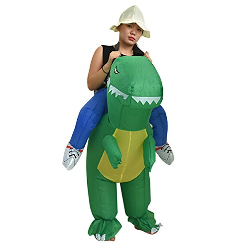 T-rex Costume Funny (Quesera Women's Inflatable Costume Funny Animal Riding Halloween Blow Up Costume, A, free size for adult)