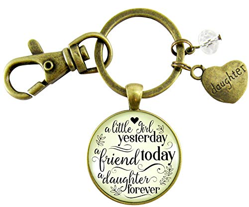 To Our Daughter Keychain A Little Girl Yesterday Inspirational Friendship Keepsake Jewelry Gift From Parents Mom And Dad