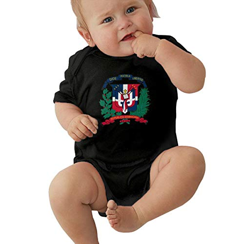 Flag of The Dominican Republic Logo Toddler/Infant Jersey Bodysuit Short Sleeve Bodysuit Romper Cute Outfits for 0-24 Months Baby Black