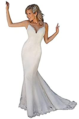 Magydre Women's 2016 Spaghetti Straps V-Neck Lace Long Fishtail Wedding Dress