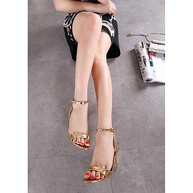 LvYuan Mujer-Tacón Stiletto-Confort Tira en el Tobillo Zapatos del club-Sandalias-Boda Oficina y Trabajo Fiesta y Noche-PU-Plata Oro Silver