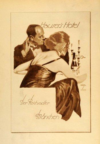 1926-photogravure-ludwig-hohlwein-hausers-hotel-munich-german-poster-art-ad-original-photogravure