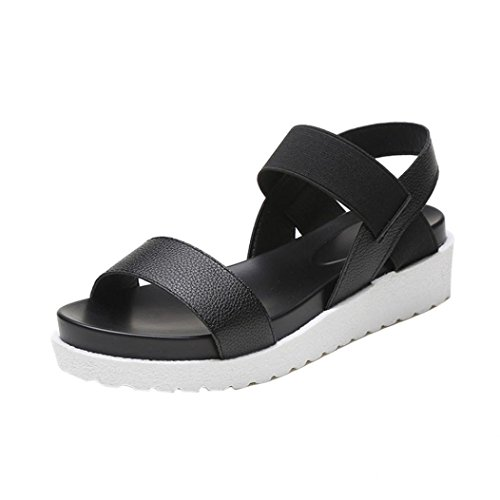 Elevin(TM)Women Summer Fashion Peep-toe Low Platform Roman Flat Flip Flops Sandal Shoes Black