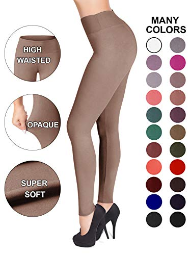 SATINA High Waisted Leggings - 22 Colors - Super Soft Full Length Opaque Slim (One Size, Tan)