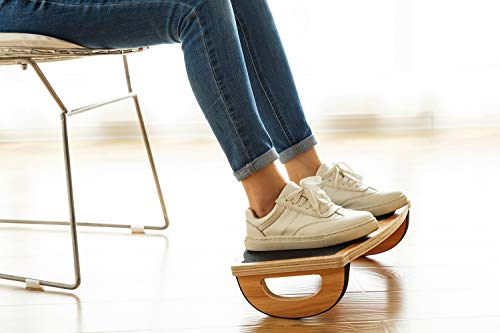 StrongTek Foot Rest Rocker Under Desk, Rocking Step Stool, Balance Board | Natural Wood, Non-Slip | Ergonomic Pressure Relief for Proper Posture Support | Home, Office and PC Use (350LB Capacity) by StrongTek (Image #4)