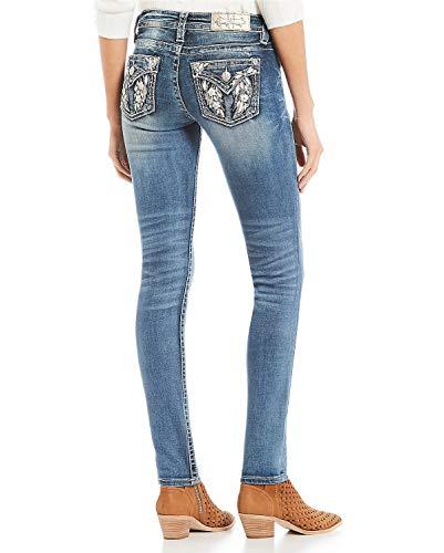 Miss Me Women's Flower Wing Faux Flap Pocket Skinny Jeans (Dark Blue, 29)