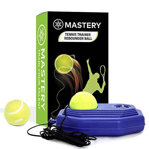 Tennis Trainer Rebound Ball + Solo Tennis Trainer Tool with Long Rope and 2 Training Balls – Self-Study Power Base…