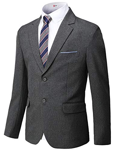 H2H Mens Slim Fit Suits Casual Solid Lightweight Blazer Jackets One Button Flap Pockets
