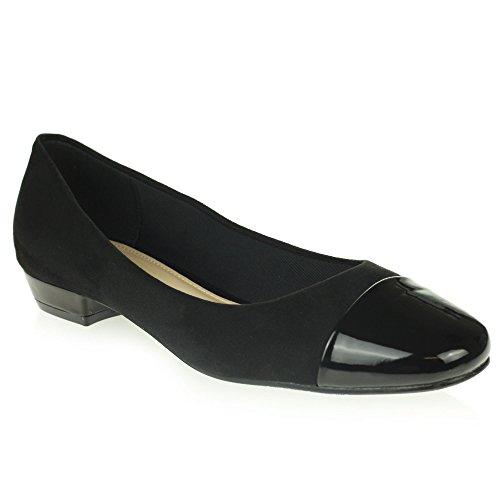 Womens Ladies Closed Toe Ballet Dolly Pumps Ballerinas Comfort Office Work Flat Shoes Size Black zh6xmcvIAk