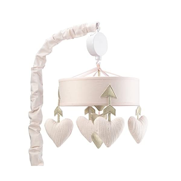 Lambs & Ivy Baby Love Musical Mobile Toy – Pink/Gold Hearts