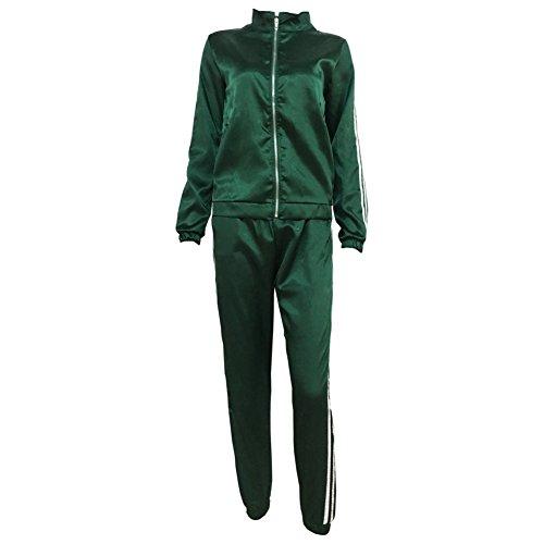 Allouli Ropa casual traje traje conjunto Cerniera su¨¦ter raya (negro / verde / p¨²rpura)