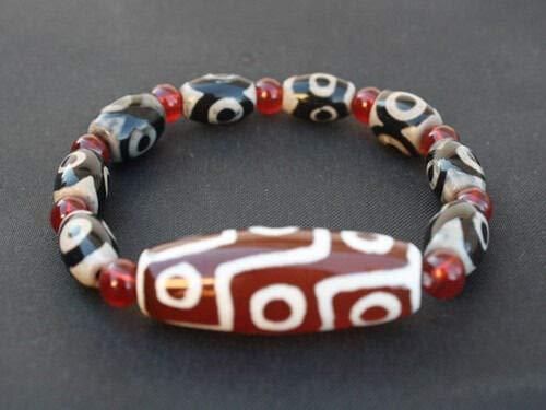 Tibet 8 3-Eye Big 9-Eye Agate dZi Beads Beaded Bracelet -Powerful Energy! #ID-618 ()