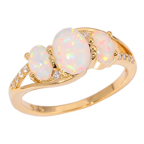 CiNily Created White Fire Opal Zircon Yellow Gold Filled Women Jewelry Gemstone Ring Size 7 8 9 (9) (Opal Gemstone Gold)