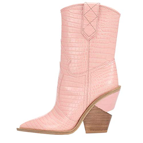 (Themost Womens Crocodile Ankle Boot Western Miami Cowboy Boots Wedge Heel Cowgirl Booties Mid Calf Combat Pointed Toe Shoes Pink)