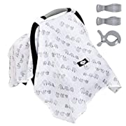 SALE! 100% ORGANIC Cotton Baby Car Seat Canopy Cover/Stroller Covers Gift Set for Infant or Babies - 3 Adjustment Clips Included (Elephant)