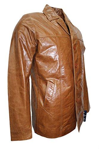 Hip Mucca New Rivestimento Lunghezza 4010 Del Reale Tan Cappotto Vetrate Classic Uomo Della Di Cuoio 654w4qH