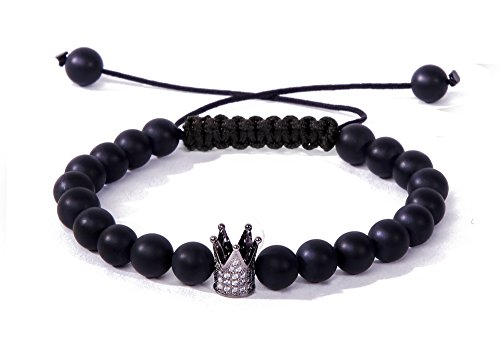 Bracelet Bella.Vida Mens Womens 8mm Healing Natural Matte Black Onyx Bead Adjustable Handmade Bracelet with Crown(Gloria)