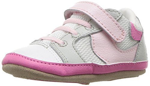 Robeez Girls' Low Top Sneaker-Mini Shoez Crib Shoe, Tori Tenny White/Pink, 12-18 Months M US Infant Infants Low Top Shoes