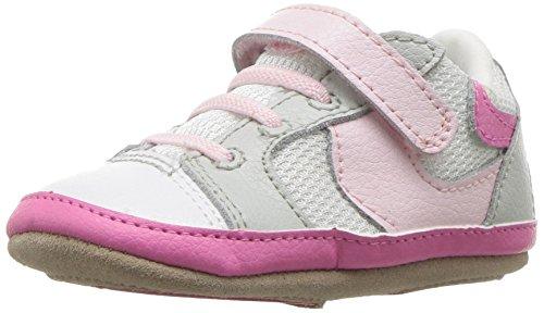 Robeez Girls' Low Top Sneaker-Mini Shoez Crib Shoe, Tori Tenny White/Pink, 18-24 Months M US Infant
