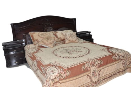 Tache 3 Pc Floral Chenille Woven Medallion Orange Desert Oasis Bedspread Quilt Set, Twin
