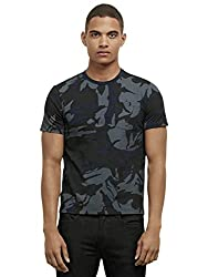 Kenneth Cole New York Men's Short Sleeve Crew Camo Prnt, Blue Moon, Small