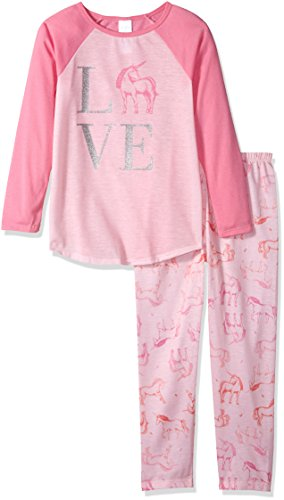 The Children's Place Big Girls' Unicorn Love 2 Piece Sleepwear Set, Whisperpnk 91399, L (10/12) by The Children's Place
