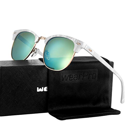 Sunglasses for Men Women - wearpro Retro Semi-Rimless Polarized Sun Glasses WP1006 ()