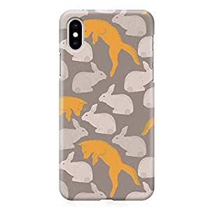 Loud Universe Wrap Around Edges Case For iPhone XS Max Springs Rabbit Fox Pattern Heavy Duty Light Weight Modern iPhone Cover