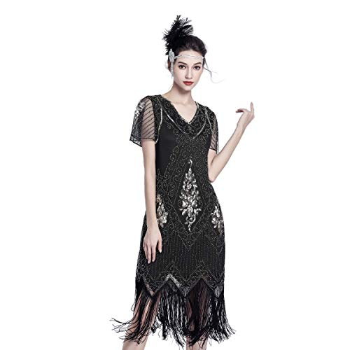 1920 Great Gatsby Dresses (1920 Dresses for Women Gatsby Dresses for Women Sequin Flapper Dress 1920s Great Gatsby Themed Roaring 20s Dresses Black and)