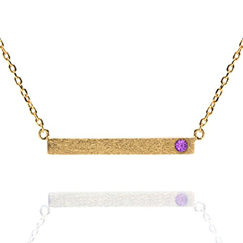 PAVOI 14K Gold Plated Birthstone Necklace Bar Pendant - (Gold Amethyst Chain)