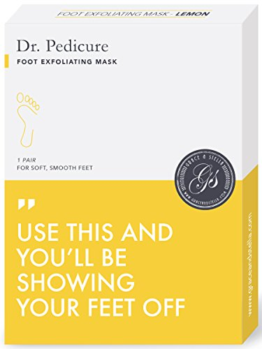 Dr. Pedicure Foot Peeling Mask by Grace & Stella - Feet Peel Booties to Exfoliate Dead Skin & Old, Callused Heels - Natural Exfoliating Treatment for Baby Soft Feet - Lemon (3 Pairs)