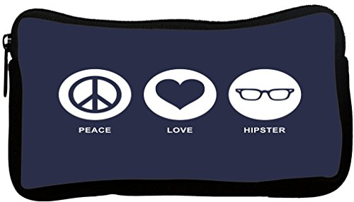 """UKBK Peace Love Hipster Blue Color - Crossover Messenger Bag - Book Bag - with padded pockets for Laptops & Tablets up to 14.5"""" and Matching Pencil Case"""