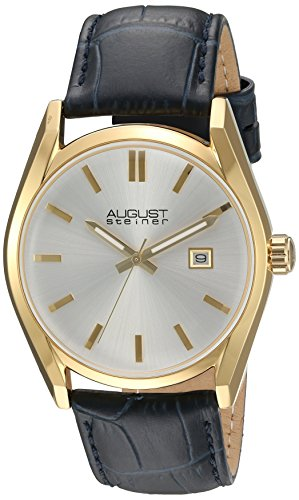 August Steiner Women's Gold-Tone Case with White Dial and Alligator Embossed Genuine Leather Navy Strap Watch AS8221BU