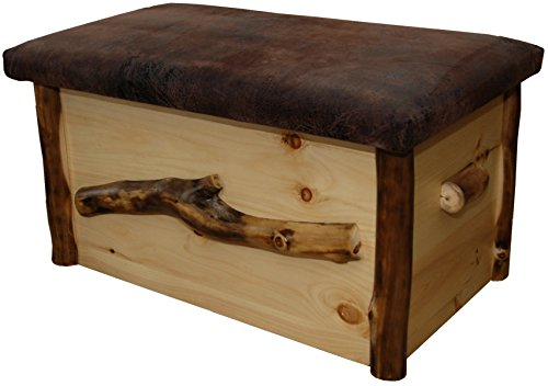 Rustic Aspen Log Blanket Chest with Seat (Chest Aspen Log)