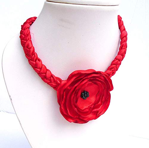 - Red Rose Choker Necklace For Women