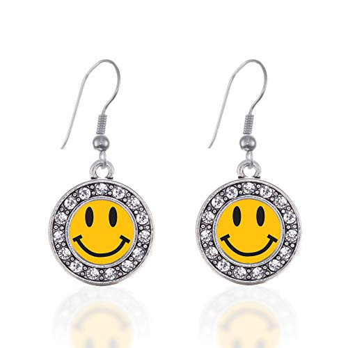 Inspired Silver - Smiley Face Charm Earrings for Women - Silver Circle Charm French Hook Drop Earrings with Cubic Zirconia Jewelry