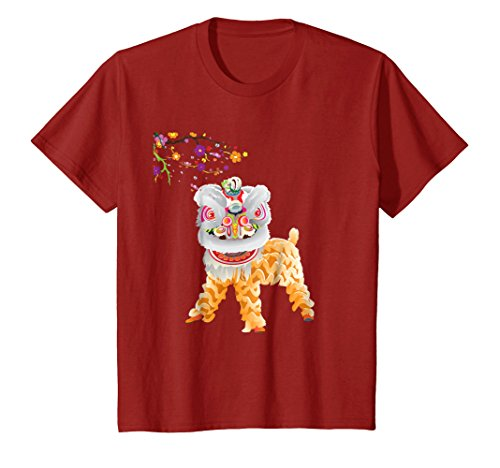 Kids Beautiful Chinese Lion Dance Shirt Outfit Costume Gift 6 Cranberry