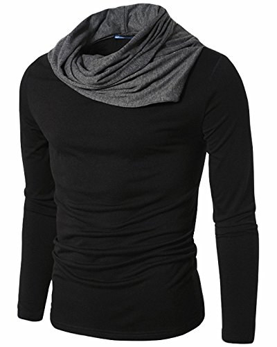 CIC Collection Men's Turtle Neck Long Sleeves Slim Fit T-Shirts (Pullover Men T Shirt)
