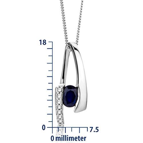 Miore - MH9023N - Collier avec Pendentif Femme - Or blanc 375/1000 (9 carats) 2.0 gr - Saphir