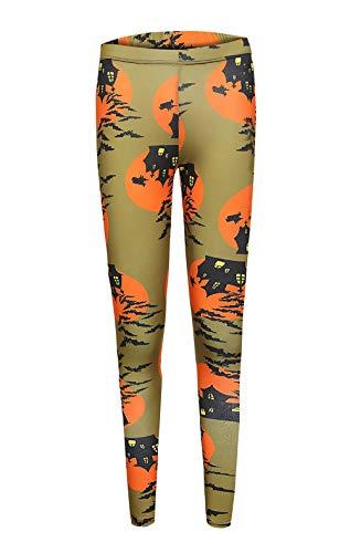 Style Skinny Confortable Féminin Pantalon Imprimer Parti Sport Loisir Fitness Élastique Leggins Jaune Halloween tY11wqB