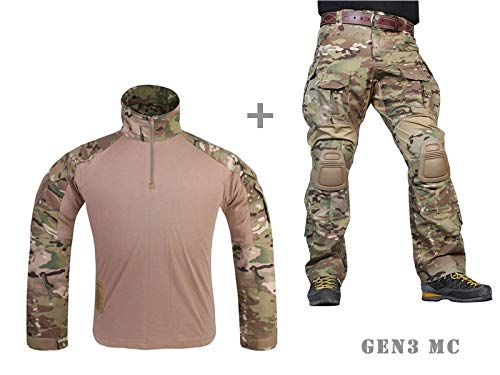 Paintball Equipment Tacticam bdu Emerson Combat G3 Uniform with Knee Pad Multicam MC (L)