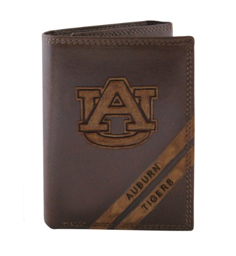 NCAA Auburn Tigers Zep-Pro Pull-Up Leather Trifold Embossed Wallet, Brown ()