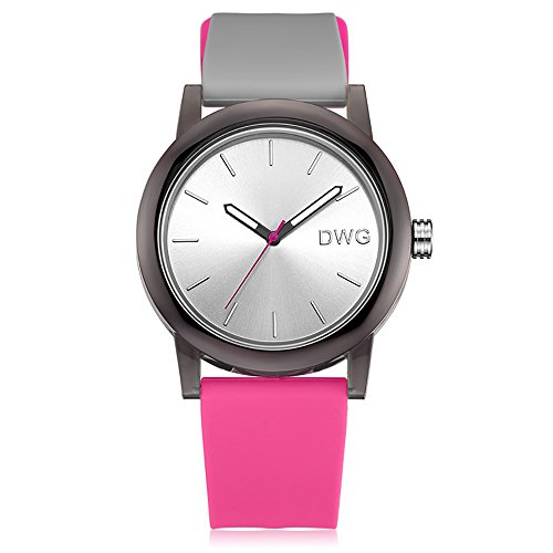 Bright Quartz Watch Mens (Silicone Quartz Watch Men Women Casual Analog Jelly Unisex Wrist Watch Simple Fashion Design Nice Colors Sport Watches (Pink Strap&White Dial))