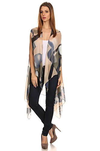 LL- Womens Fashion Beige Abstract Pattern Kimono Open Front Poncho No Sleeves,Beige Abstract,One Size