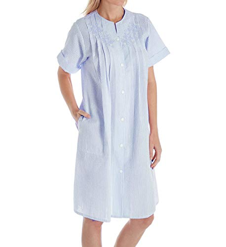 Elaine Seersucker Miss - Miss Elaine Women's Seersucker Short Sleeve Button Front Robe (Medium, Navy/White)