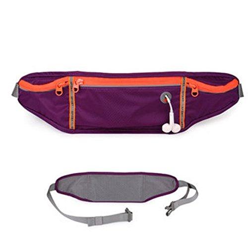 TENGGO Polyester Imperméable À l'eau De Course Ceinture De Sport Outdoor Sac De Taille De Téléphone Smartphone 6 inches-Noir Violet