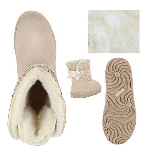 Warm Gefütterte Boots Schlupfstiefel Strass Blumen Schleifen Pailletten Schuhe Kunstfell Stiefel Nieten Booties Winterstiefel Flandell Creme
